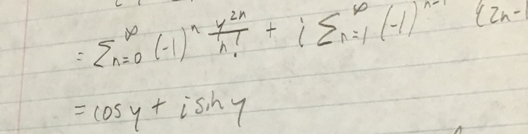 Hand-written math deriving the complex exponential function