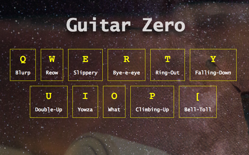 Screenshot of Guitar Zero app, which plays guitar sounds with JavaScript